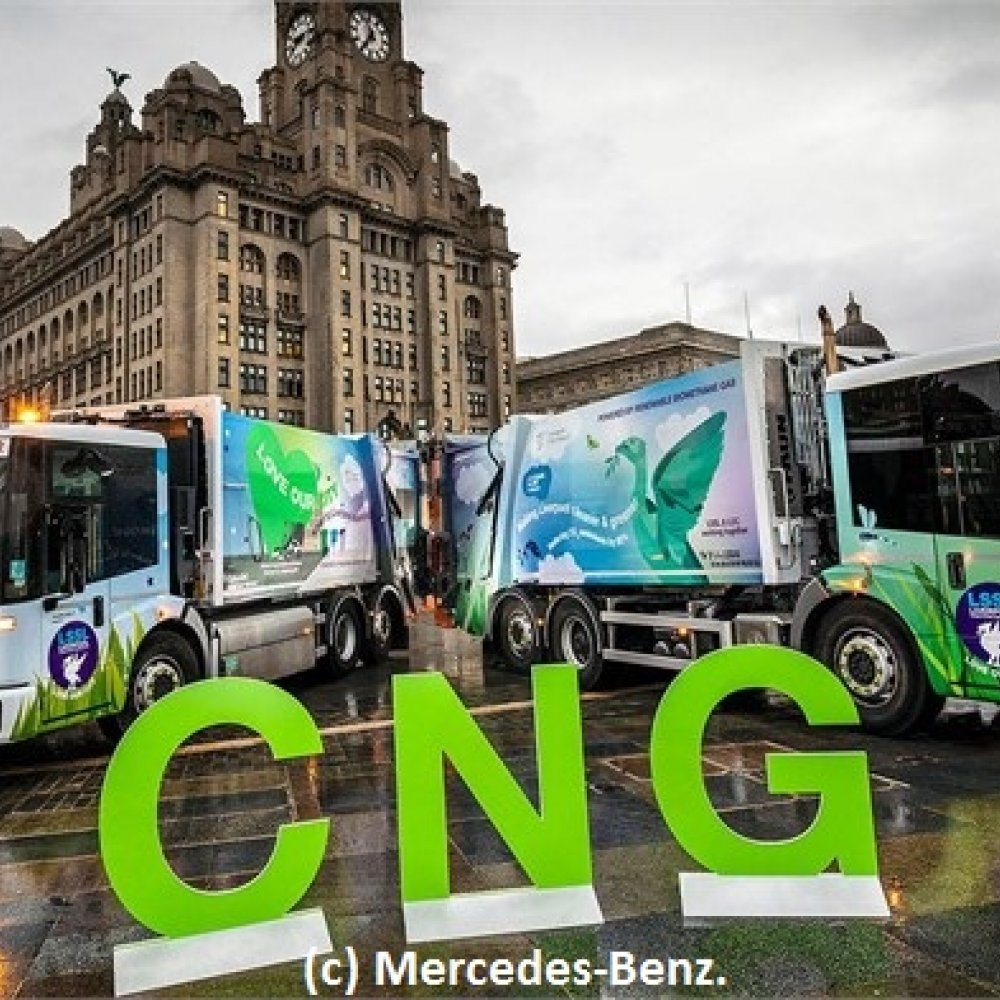 The city of Liverpool recently established a fleet of 20 Mercedes-Benz Econic NGT (Natural Gas Technology) 2630 L refuse trucks. (Photo courtesy of Mercedes-Benz.)